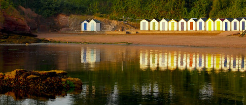sea beach sunrise dawn huts beachhuts