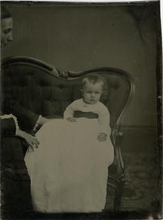 Tintype of Baby with Hidden Mother Peeking In