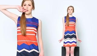 Optic Sleeveless Shift Dress, Orange and Purple, Php1295