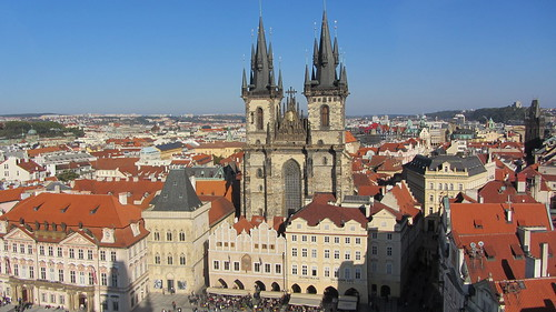 our lady before tyn seen from the astronomical clock tower in prague