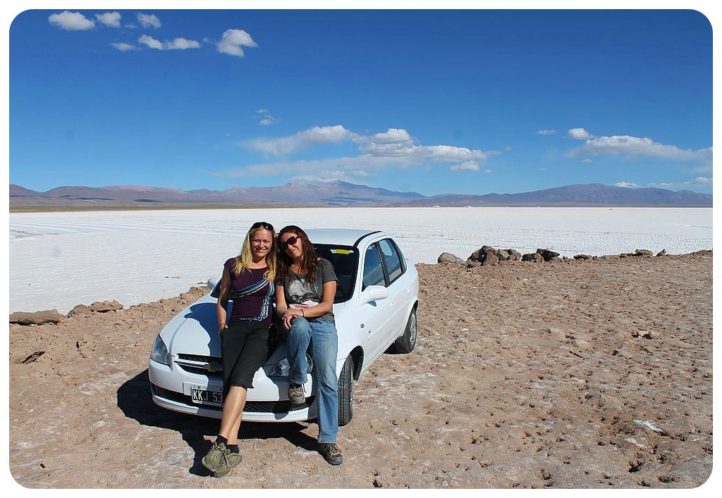 salt flats argentina dani & jess with car