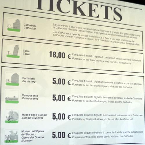 Precio para acceder a los monumentos de Pisa
