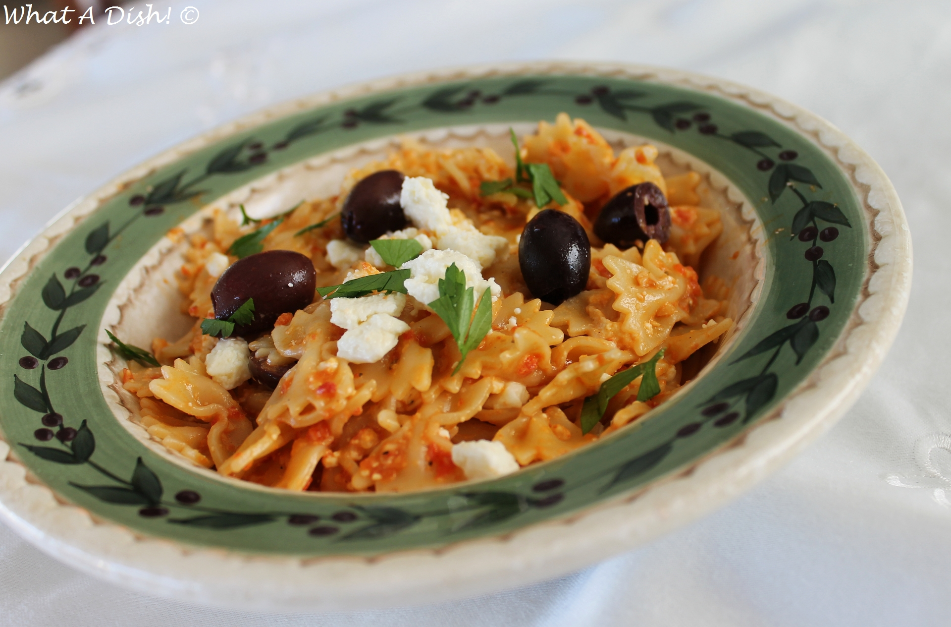 What A Dish!: Roasted Red Pepper Pesto Greek-Inspired Pasta