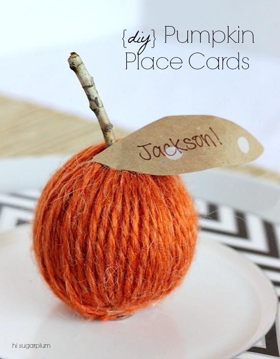Hi Sugarplum | DIY Pumpkin Place Card