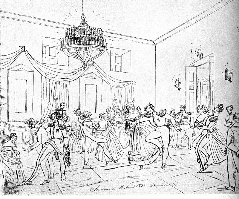 Бал в провинции. Рисунок графа Я. П. де Бальмена. Первая половина XIX в.