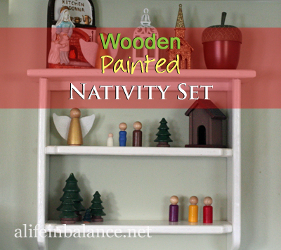 Wooden Painted Nativity Set