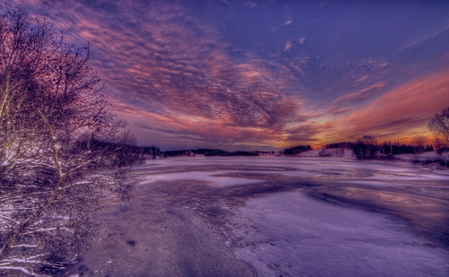 Sunrise over the frozen lake 2