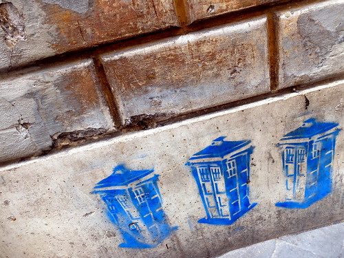 TARDIS on a brick wall in Rome, Italy