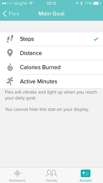 Fitbit iOS App - Settings - Main Goal