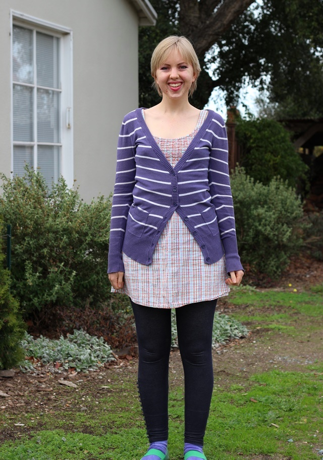 striped purple cardigan