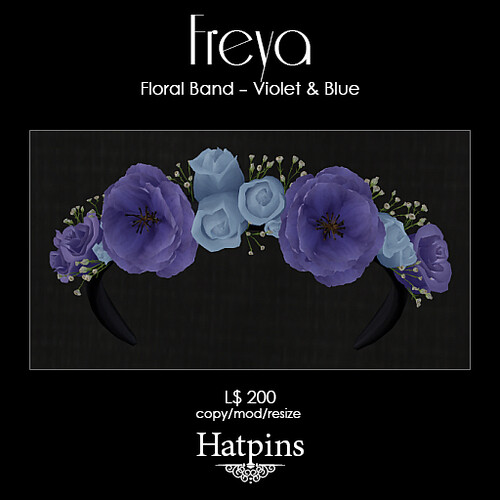 Hatpins - Freya Flora Band Ad - Violet and Blue