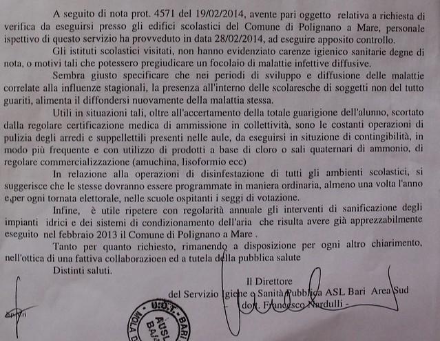 La lettera degli ispettori Asl