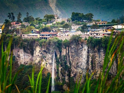 cliff vertical living waterfall ecuador edge banos