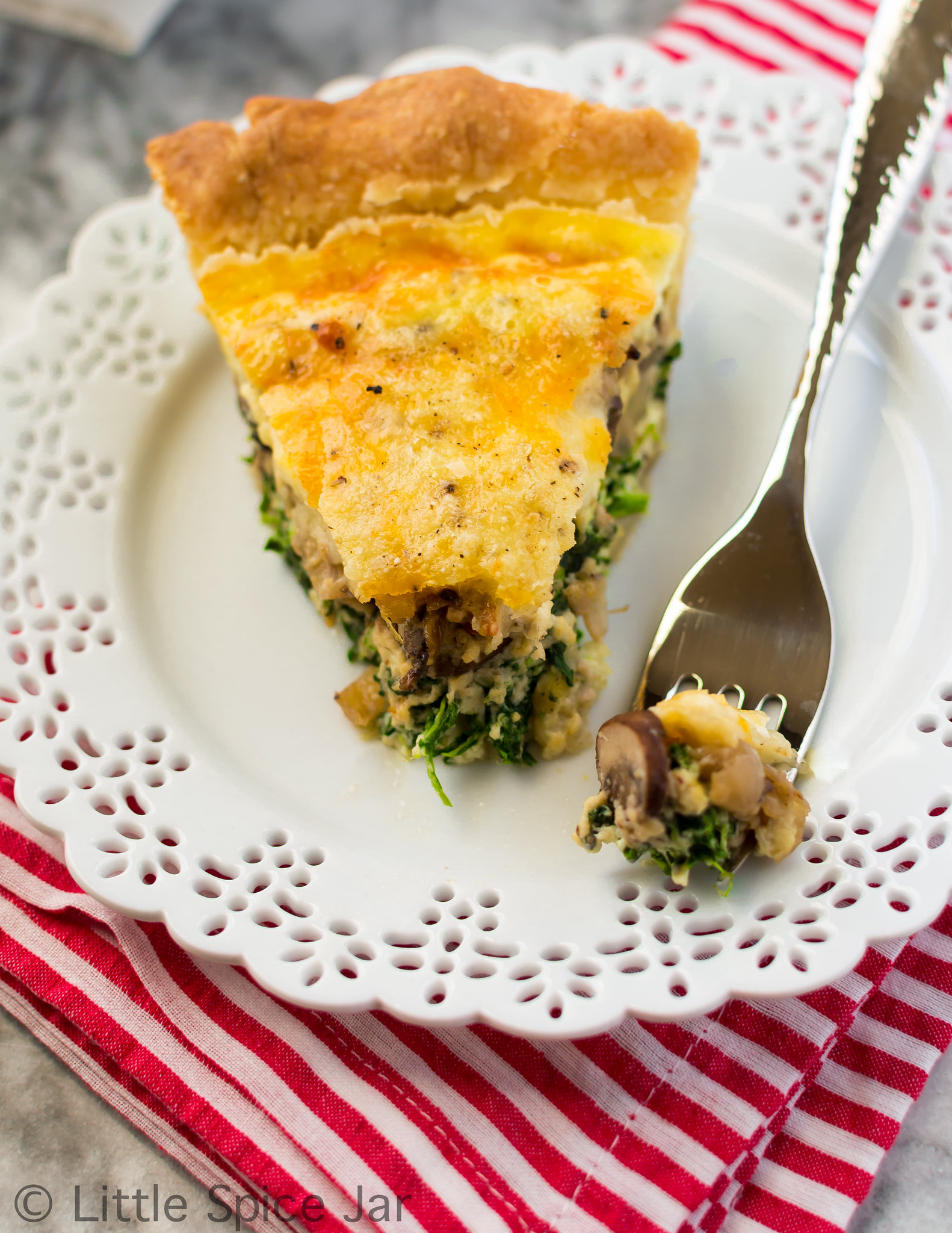Cheesy Spinach Mushroom Quiche Final 4 2