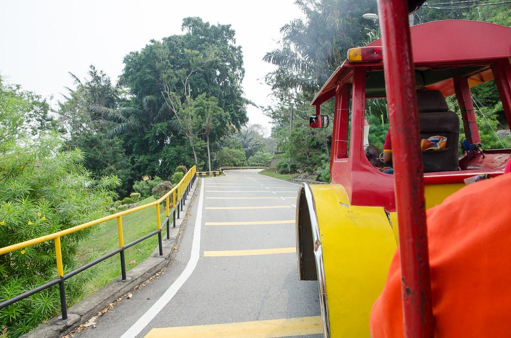 Taking tram up to Bukit Malawati Kuala Selangor.