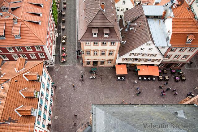 Fischmarkt Ecke Untere Straße, Haspelgasse von der Aussichtsplattform der Heiliggeistkirche gesehen