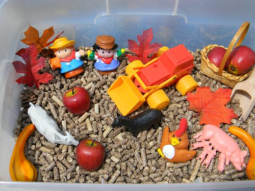 Harvest Time Down on the Farm Sensory Bin (Photo from Jada Roo Can Do)