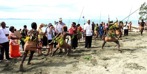Warriors meeting Archbishop and his party at Lengalau beach