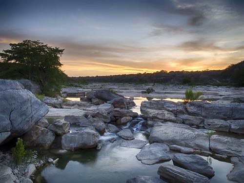 statepark blue sunset orange reflection water rock river landscape texas tx granite hdr pedernales pedernalesriver lowwater pedernalesfallsstatepark