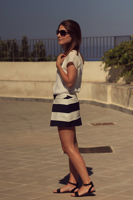 outfit white top navy skirt