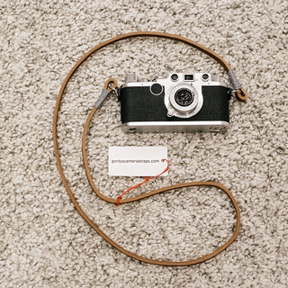 Gordy's camera strap on my 1949 Leica IIc