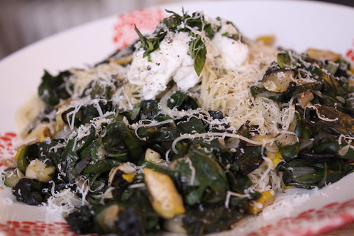 Capellini with Summer Squash, Spinach, and Ricotta