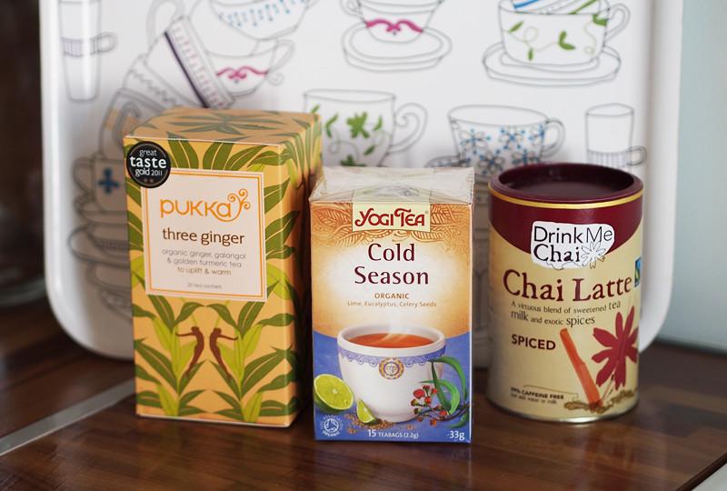 viileneviin iltoihin pukka three ginger yougi tea cold season luomutar