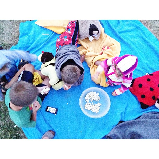 Getting ready to watch a movie in the park #thepopcornisnearlygonealready #chilly