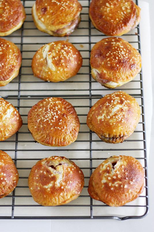 brie + jam pretzel hand pies