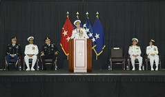 Rear Adm. William McQuilkin speaks at the Commander, U.S. Naval Forces Korea change of command ceremony prior to being relieved by Rear Adm. Lisa Franchetti. (U.S. Navy photos by Mass Communication Specialist 1st Class Joshua Bryce Bruns)