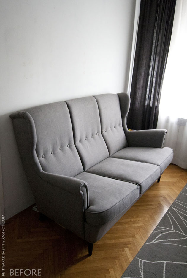 strandmon grey ikea sofa in living room