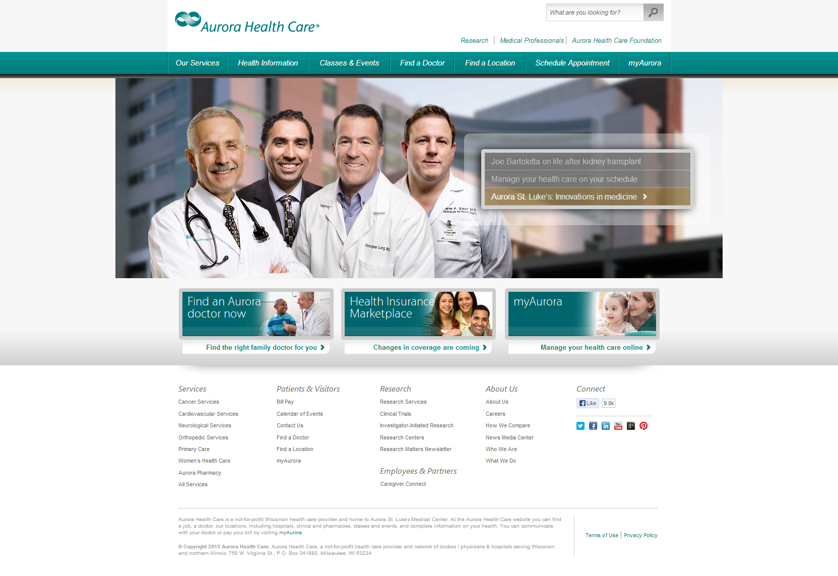 Aurora Health Care Beautiful Health Website
