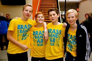 Brassbandfestivalen 2012 - Fyra glada minibrassare: Felix Gustafsson, Jonathan Hildingsson, Albert Kvarnvik och Carl Backstig