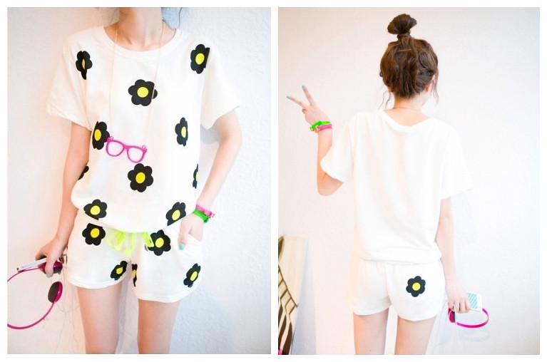 夏装新款 韩版可爱太阳花朵印花短袖卫衣运动套装