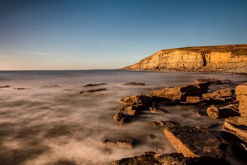 blue autumn sea sky seascape beach water southwales wales landscape nikon rocks waves slow cliffs seashore porthcawl southerndown slowspeed dunravenbay d7100