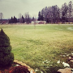 The weather out is awful... All this green grass in upstate NY. I'm missing out on a perfectly fine snow day in Philly. #weather #snowstorm #irony