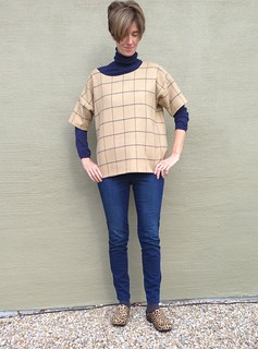 Grainline patterns hemlock t in plaid wool woven