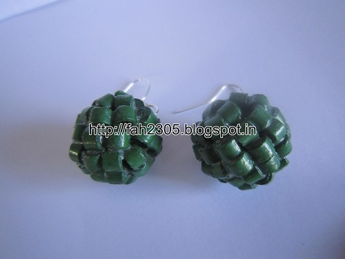 Handmade Jewelry - Paper Quilling Globle Earrings (Dark Green - H) (2) by fah2305