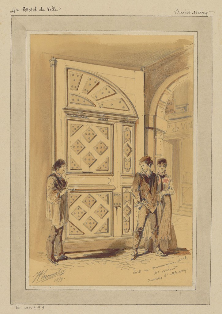 watercolour & pencil sketch of 2 men and a lady in front of a large door - 19th century Parisian street scene