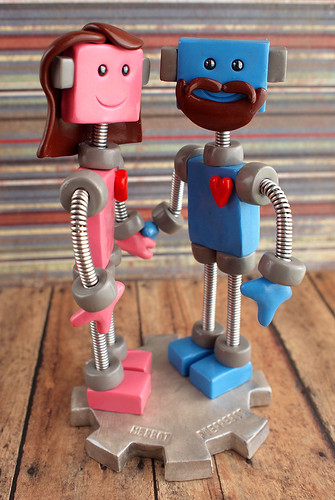 Commission: Robot Couple, a head of hair, a manly beard by HerArtSheLoves