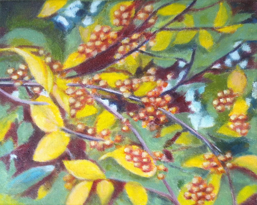 Branch with Golden Berries (Oil Bar Painting as of Jan. 1, 2014) by randubnick