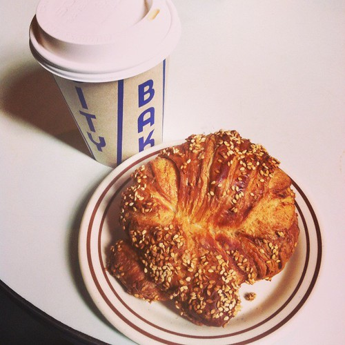 City Bakery hot chocolate and pretzel croissant