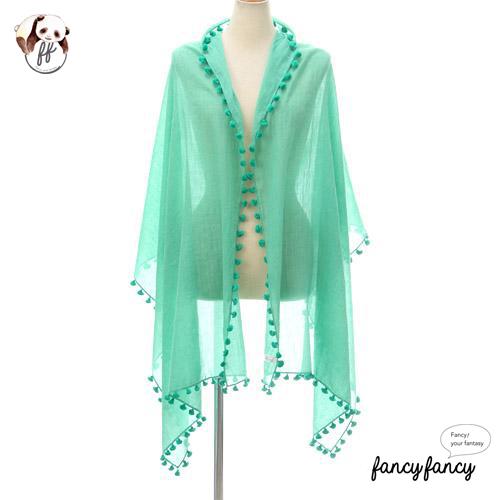 08.春意盎然流蘇球球圍巾(披肩)-綠色
