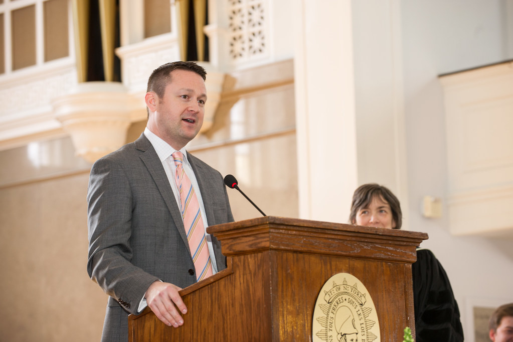 Gideon Hawley Award recipient Christian Talbot addresses the crowd at Founders Day.