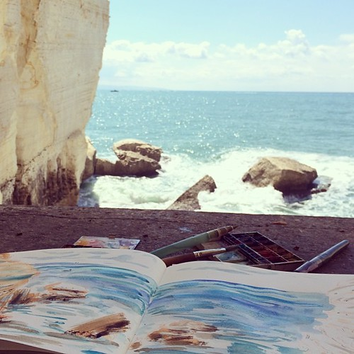 #Sketching #Mediterranean #Sea. Seawater and #watercolor from the #grotto.