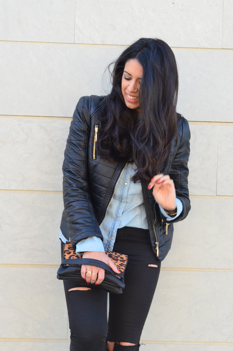 florenciablog look rocker broken jeans inspiration leopard clutch stradivarius how to wear broken jeans (2)