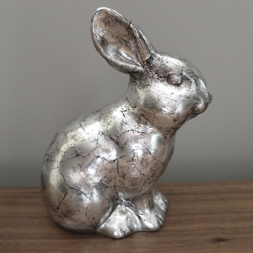 Antiqued Silver Bunny