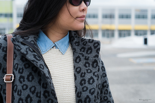 old navy leopard coat chambray collar