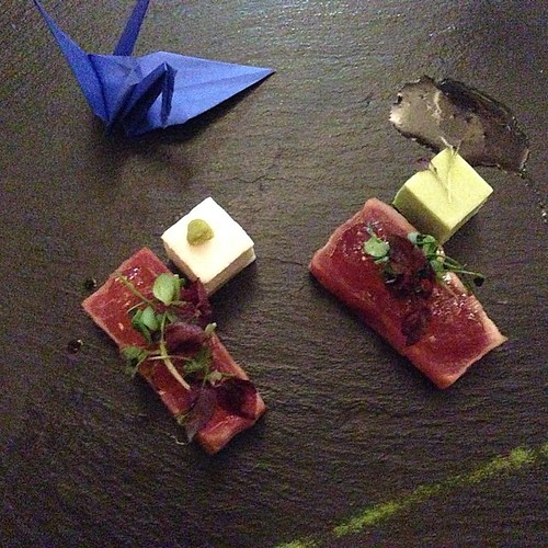 Grilled Tuna Tataki, Ginger Gelly, Wasabi, Panna Cotta, Green Tea Salt, Soy Mirin Dressing