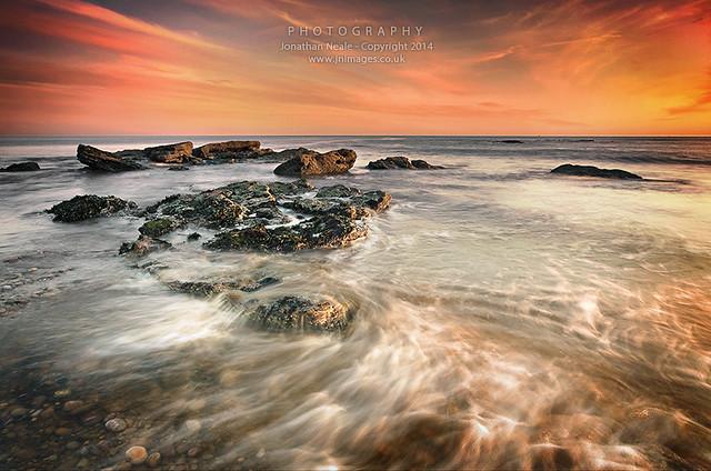East Devon rocks at sunset